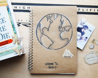 Travel Journal Globe pencil drawing