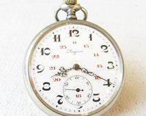 ULTRA Rare Swiss Made Pocket  watch Longines-1926,Working,Antique pocket watch,Men's pocket watch,Porcelain dial watch,Serviced,Retro watch
