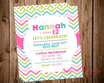 Pink Green Chevron Birthday Invitation, girl birthday invite, digital, diy printable