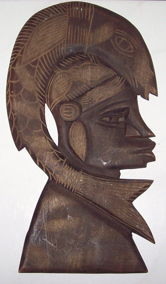 African hand carved taverneau wood face wall mask