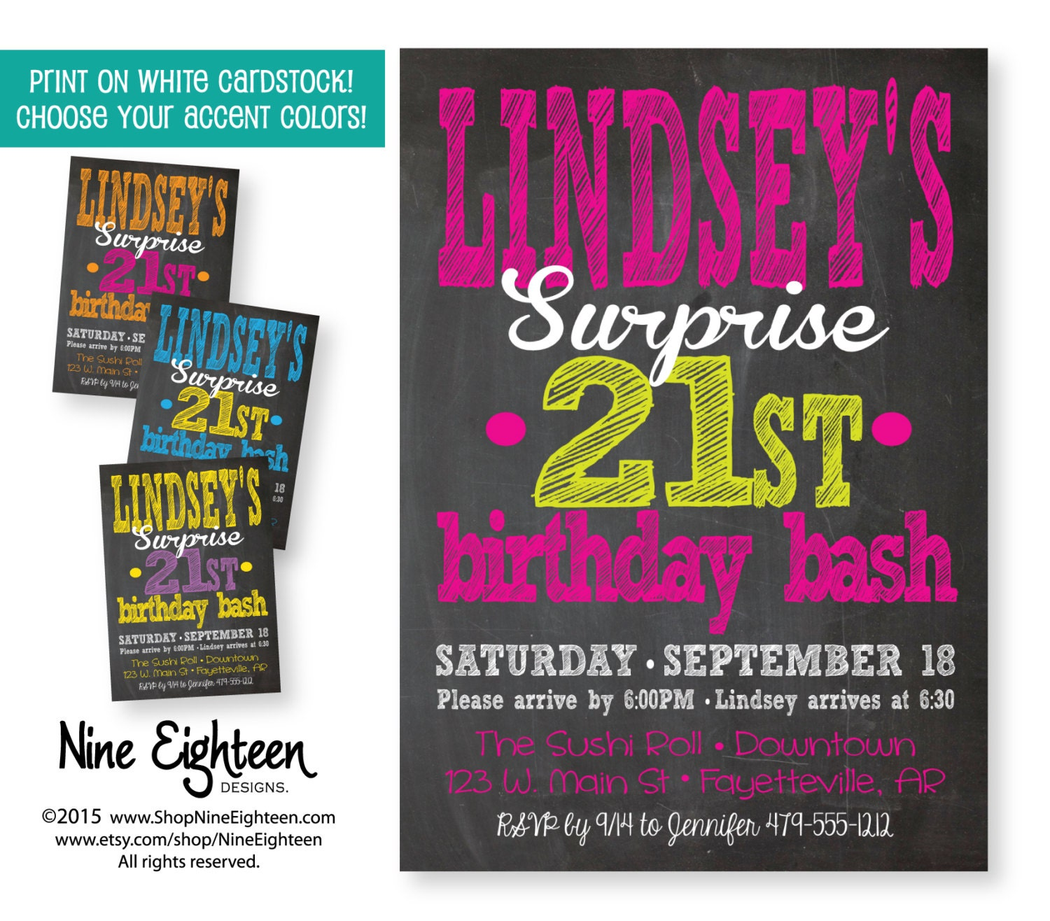 Surprise Birthday Party Invitation Adult Custom By