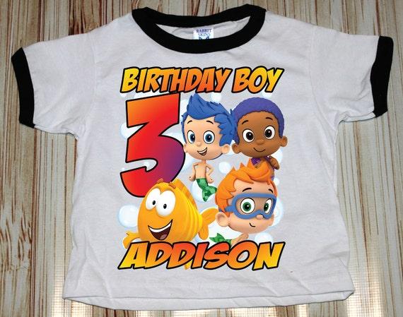 Personalized Bubble Guppies Birthday Ringer Shirt - tshirt custom party