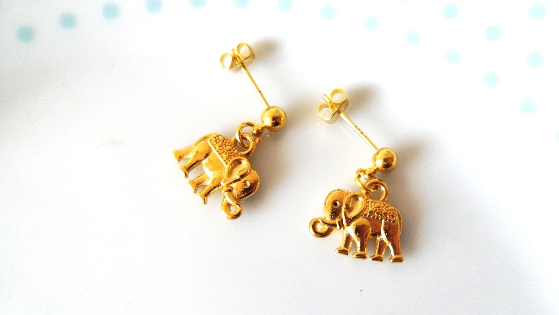 sale elephant gold stud earrings animal boho