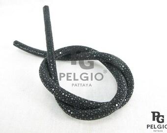 PELGIO Genuine Polished Stingray Skin Leather Cord Bracelet Necklace Black Free Shipping