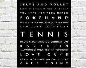 Tennis, Sports Decor - Personalized Prints, Sports Art, Tennis Print, Kids Sports Decor, Typography, Tennis Wall Art, Tennis Poster