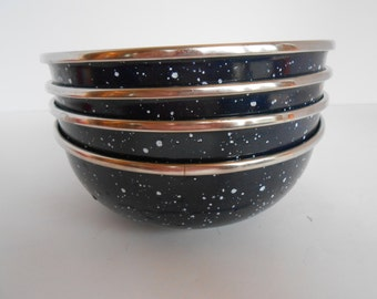 Four Dark Blue Graniteware Bowls with Stainless Steel Rims