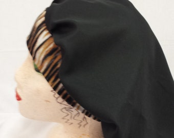 Black Bouffant  bonnet with striped headband
