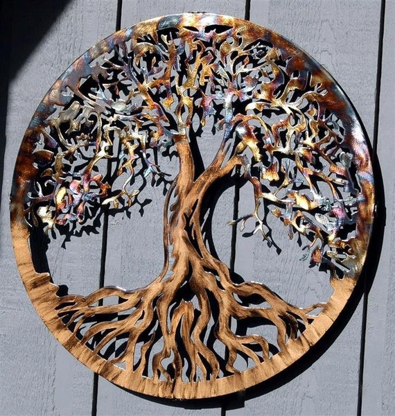 large metal wall art tree of life by humdingerdesignsetsy on etsy. Black Bedroom Furniture Sets. Home Design Ideas