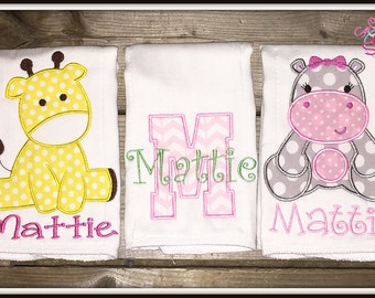 Personalized Baby Animal Burp Cloths Set