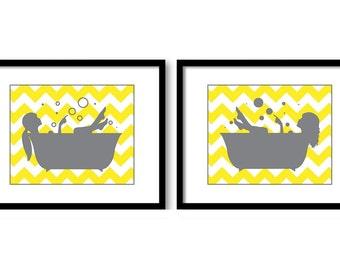 Bathroom Decor Bathroom Print Yellow Grey Gray Girls in a Bathtub Tub Set of 2 Bathroom Art Prints