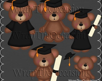 Orange/Black Graduation Bears Clipart