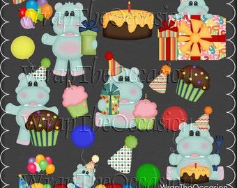 Birthday Hippos - CU Clipart