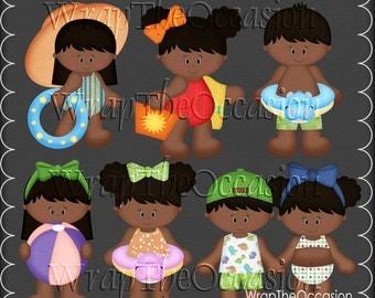 Summertime Fun AA Kids Set1 - CU Clipart