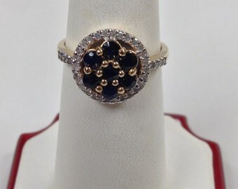 Natural Sapphire Diamond Ring 14kt Yellow Gold
