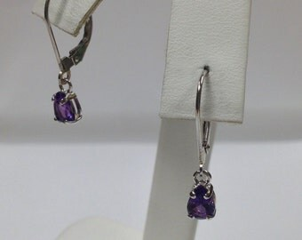 Natural Amethyst Dangle Earrings Solid 14kt White Gold