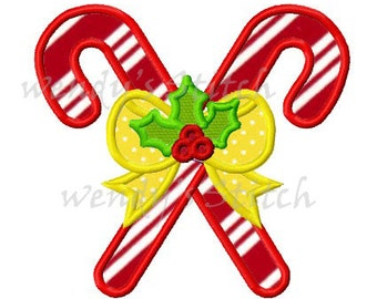 Christmas candy cane applique machine embroidery design instant download