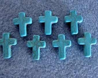 7 Synthetic Howlite Turquoise Cross Beads