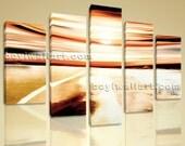 "Huge HD Giclee Canvas Print Multiple 5 Panels Framed Ocean Beach Wall Art Sunset Seascape Sea Wave Contemporary 54""x40"""