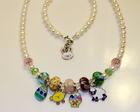 easter necklace and matching bracelet cultured pearls with
