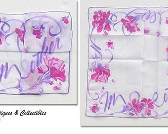 Beautiful and Colorful Vintage Handkerchief Hanky for Mother  (Inventory #M2212)