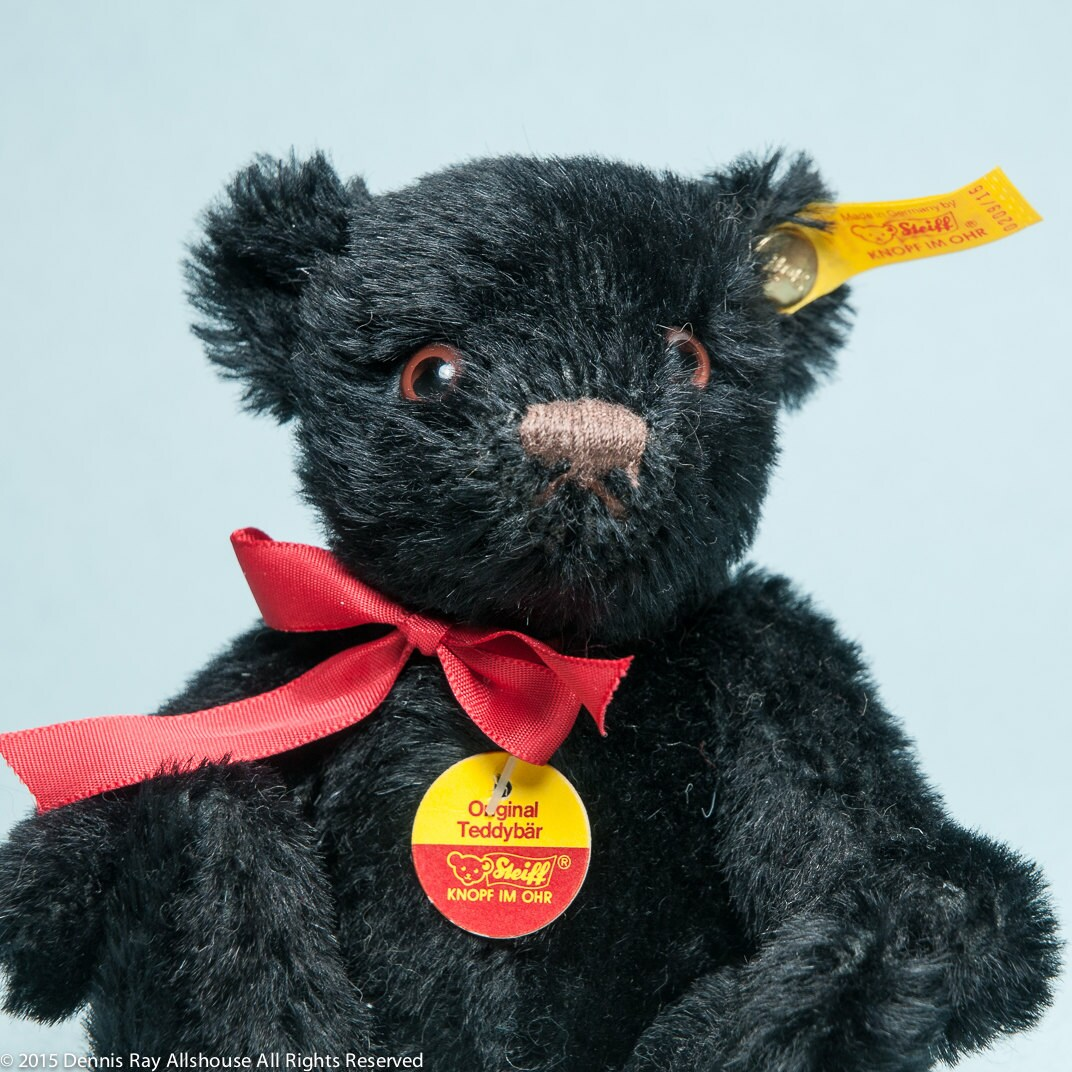 Steiff black bear made in Germany button in ear jointed