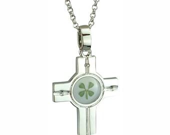 Real Four Leaf Clover Celtic Cross Pendant Good Luck Charm