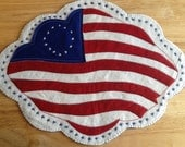 American Flag/4th of July/ Summer/ Woolfelt Table Mat/Applique