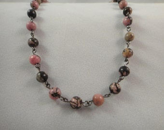 SALE!  Code 25OFF:  Rhodonite 18in-16in 6mm Beaded Necklace with Toggle Clasp