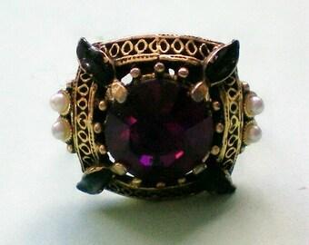 Amethyst Glass Victorian Setting Ring - 3711