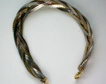 Mixed Metal Braided Chain Bracelet - 3894