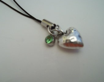 Birthstone Heart Cell Phone Charm - August