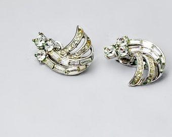 Crown Trifari Silver Rhinestone Clip On Earrings Wedding Vintage Jewellery