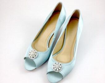Something Blue Wedding Shoes With Rhinestones Light Diamante Robin Egg