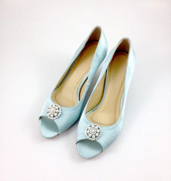 Something Blue Wedding Shoes With Rhinestones Light