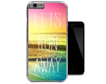 Lets Run Away iPhone 6 Case Quote iPhone 5 Case Sunset Sun iPhone 5c Case Nature Beach Waves iPhone 4 case Unique Hipster 4s 5s Case (A77)