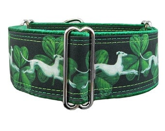 Hounds & Shamrocks adjustable martingale collar, greyhound collar, whippet collar, satin lining. Made to order.