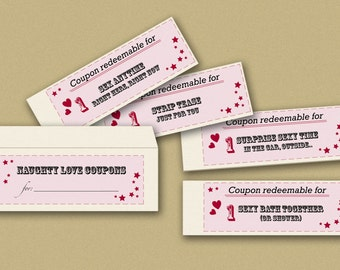Instant download printable naughty love coupons book - blank + envelope - last minute gift downloadable wife husband boyfriend girlfriend