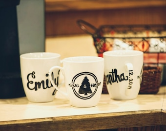 Bridal Party Custom Name/Wedding Logo Mugs
