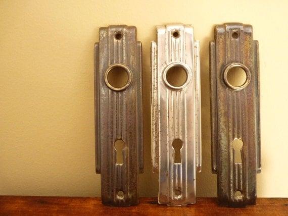 Items similar to set of 3 1920 39 s art deco door plates for 1920s door handles