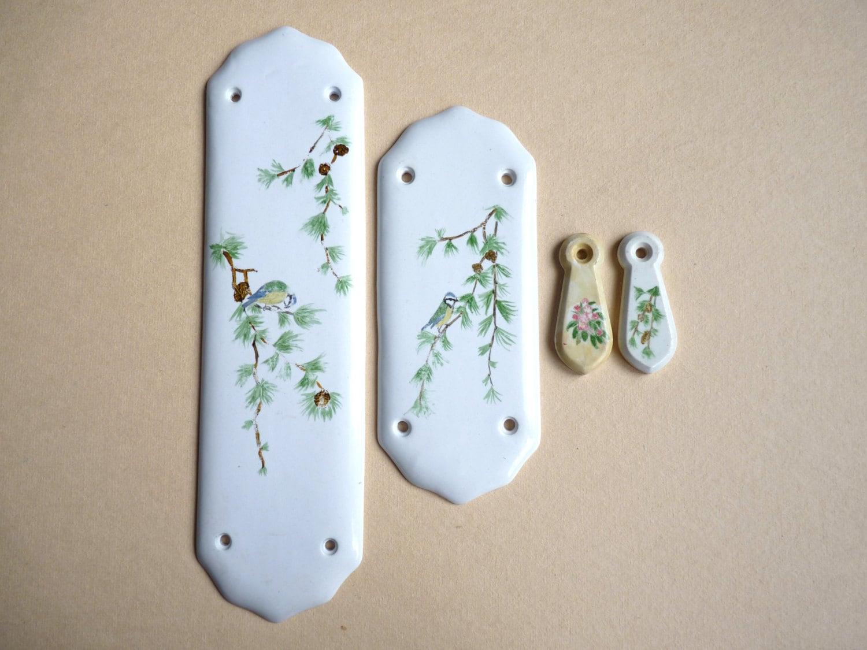 Antique set of porcelain door plates and key holes vintage for Door finger plates
