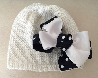 Hand Knit Baby white with Navy Polka Dot Doubt Bow
