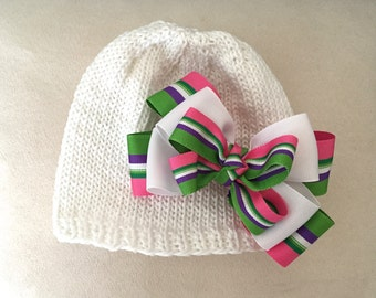 Hand Knit Baby Hat White with Green, Purple, Pink White Striped Double Bow