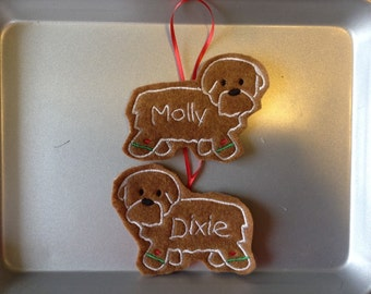 Shih Tzu or Havanese Personalized Felt Gingerbread or Angel Ornament