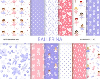 Ballerina Digital paper pack in purple and pink, ballet, ballerina, danse, ballerina scrapbook paper - BR 416