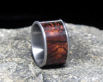 Honduran Rosewood Burl Wood Inlay Titanium Wood Wedding Band or Ring
