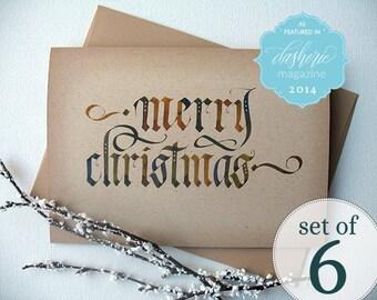 Calligraphy Christmas Cards | Merry Christmas Cards | Kraft Christmas Card | Recycled Christmas Card | Eco Friendly Christmas Card