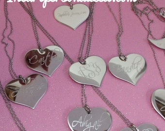 Custom Heart Necklace, Engraved Heart Necklace, Personalized Name necklace, Valentines Gift