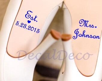 Wedding Shoe Vinyl Deco Decal Sticker for Bridal Wedding Shoe Decal / Wedding Shoe Sticker / Personalized Wedding Decal Something Blue