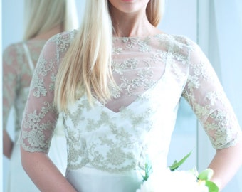Gold lace wedding top, bridal cover up, elbow sleeves bridal top, bridal separates
