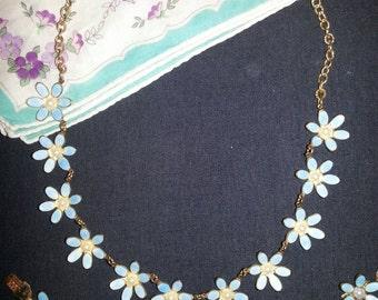 1930's Guilloche Enamel And Pearl Flower Demi Parure Necklace And Bracelet...